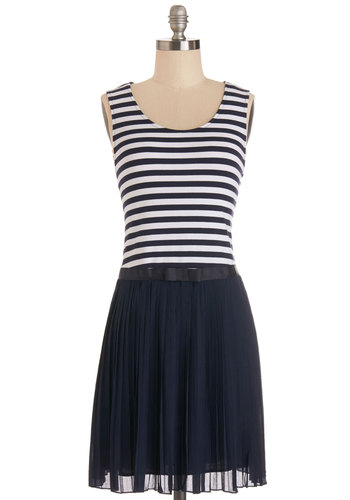 Power Launch Dress - Knit, Woven, Short, Blue, White, Stripes, Pleats, Casual, Nautical, A-line, Sleeveless, Summer, Better, Scoop, Bows