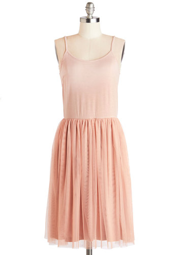 En Pointe the Way Dress - Long, Knit, Pink, Party, Ballerina / Tutu, Spaghetti Straps, Good, Scoop, A-line, Tulle