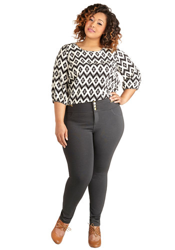 Better Shake Up Pants in Charcoal – Plus Size - Knit, Grey, Solid, Buttons, Pockets, Casual, Skinny, Variation, Ankle