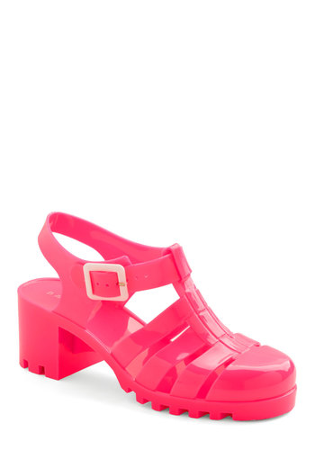 Clear Point of View Heel in Electric Pink - Mid, Pink, Solid, Casual, Kawaii, Spring, Summer, Good, Chunky heel, Vintage Inspired, 90s, Neon, Variation, Festival, Boho
