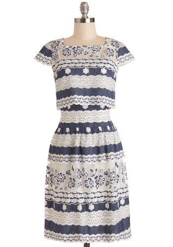 Poetry Prizewinner Dress - Sheer, Woven, Lace, Blue, White, Embroidery, Eyelet, Lace, A-line, Cap Sleeves, Better, Tiered, Daytime Party, Graduation, Spring, Americana