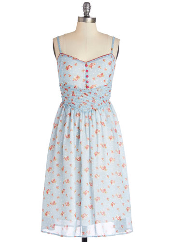 Bring Down the Farmhouse Dress - Blue, Red, White, Polka Dots, Floral, Buttons, Pleats, Casual, A-line, Spaghetti Straps, Better, Sweetheart, Long, Woven, Pastel, Social Placements