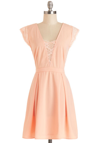 Macaron Mornings Dress - Mid-length, Woven, Mixed Media, Pink, Solid, Backless, Lace, Special Occasion, Wedding, Bridesmaid, A-line, Cap Sleeves, Better, Coral