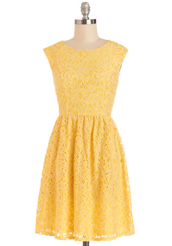 Welcome the Sunshine Dress - Mid-length, Yellow, Solid, Lace, Daytime Party, A-line, Sleeveless, Better, Scoop, Woven, Lace