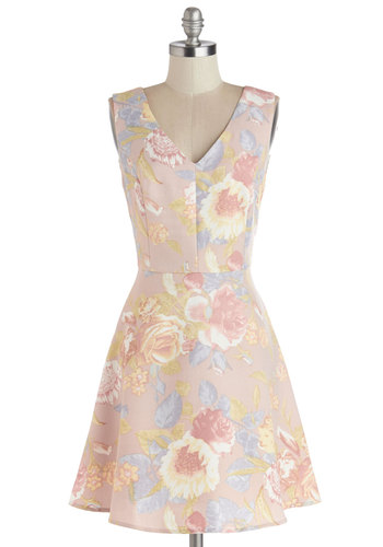 Grace Under Hire Dress - Mid-length, Woven, Multi, Floral, A-line, Sleeveless, Better, V Neck, Pastel, Spring, Daytime Party