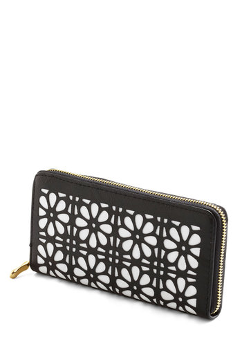 Pretty Payment Wallet - Black, White, Vintage Inspired, 60s, Black, Faux Leather, Floral, Cutout, Under $20, Social Placements