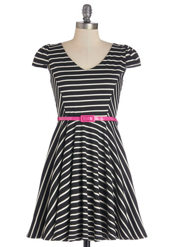 Patio La La Dress - Knit, Black, White, Stripes, Belted, Casual, A-line, Cap Sleeves, Good, V Neck, Short