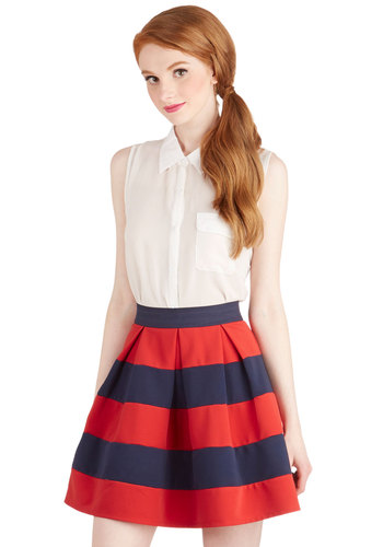 Stripe it Lucky Skirt in Navy & Red - Good, Red, Short, Stripes, Nautical, Spring, Summer, Pleats, Casual, Press Placement, Red, Exposed zipper, Party, Full, WPI