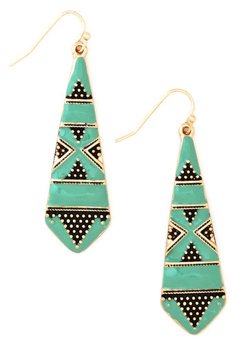Drop a Mint Earrings - Mint, Solid, Festival, Gold, Good, Black, Social Placements, Boho