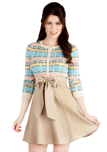 Musee Matisse Skirt in Tan - Mid-length, Tan, Solid, Belted, Work, Daytime Party, A-line, Variation, Basic, Brown