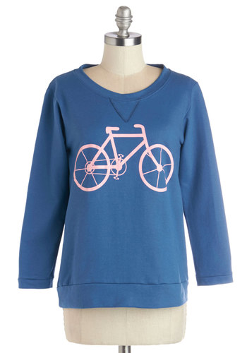 All's Well That Ends Wheel Top in Bike - Knit, Mid-length, Blue, Pink, Novelty Print, Long Sleeve, Blue, Long Sleeve, Casual, Summer, Good