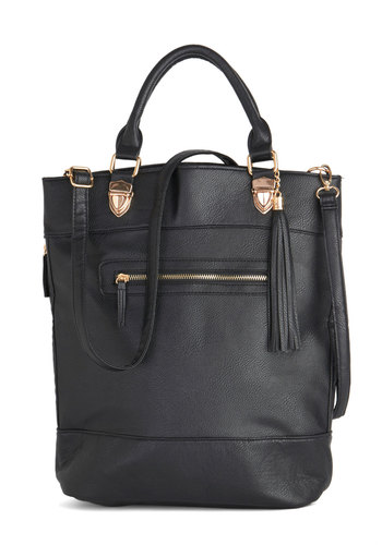 BRV CLOSED (5/20/14): Management Mentor Bag - Black, Solid, Work, Luxe, Better, Black, Faux Leather, Tassels, Travel