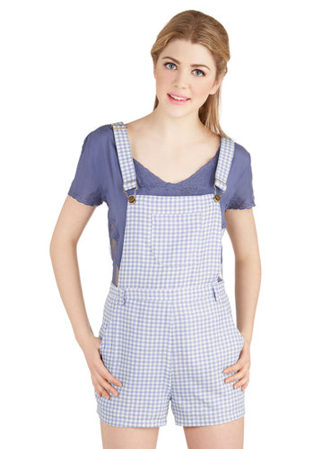 Festival Founder Overalls - Overalls, Good, Blue, Non-Denim, Woven, Blue, Checkered / Gingham, Pockets, Casual, 90s, Spring, Summer, Vintage Inspired, Americana, Short, High Rise, Long