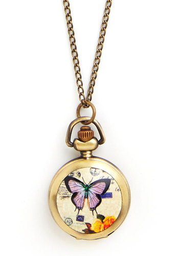 Time Butterflies By Pocket Watch Necklace - Multi, Print with Animals, Casual, Gold, Pocketwatch, Better, Gold