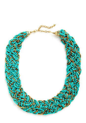 Glitz Mob Necklace in Turquoise - Solid, Beads, Statement, Gold, Good, Variation, Blue, Top Rated