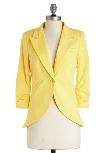 Fine and Sandy Blazer in Sunshine - Yellow, Cotton, Mid-length, Woven, Yellow, Solid, Ruching, Work, Daytime Party, 3/4 Sleeve, Spring, Summer, Pastel, 1, Best Seller