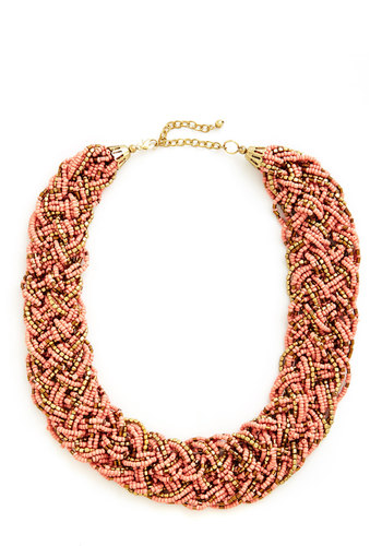 Glitz Mob Necklace in Peach - Coral, Solid, Beads, Statement, Gold, Variation, Spring, Summer, Gold