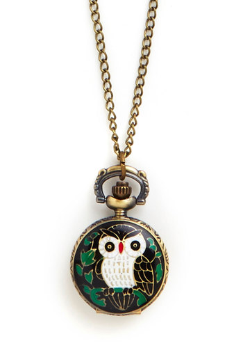 Perched for Punctuality Pocket Watch Necklace - Multi, Print with Animals, Owls, Gold, Pocketwatch, Better, Critters, Graduation, Gals, Woodland Creature