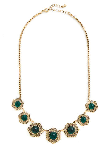 Centuries of Splendor Necklace - Green, Solid, Rhinestones, Vintage Inspired, Gold, Good, Exclusives, 20s, 30s
