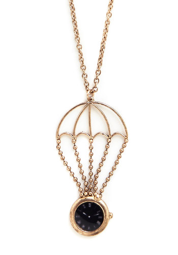 Afloat an Idea Necklace - Black, Solid, Vintage Inspired, 50s, Gold, Pocketwatch, Exclusives, Quirky, Graduation, Americana, Under $20