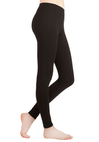Laid-back Lounging Leggings in Black - Skinny, Good, Mid-Rise, Full length, Black, Non-Denim, Knit, Black, Solid, Casual