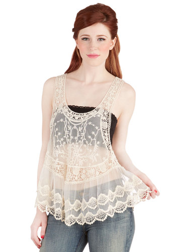 Breeze to the Bazaar Top - Sheer, Woven, Mid-length, Lace, Cream, Boho, Vintage Inspired, 70s, Sleeveless, Summer, White, Sleeveless, Crochet, Embroidery, Casual, Festival, Spring, Good