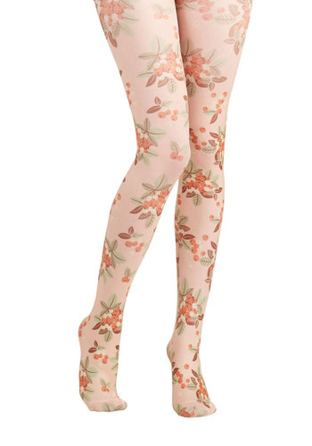 Photo Safari Tights in Forest by Blutsgeschwister - Multi, Print, Fruits, Best, International Designer, Pink, Blush
