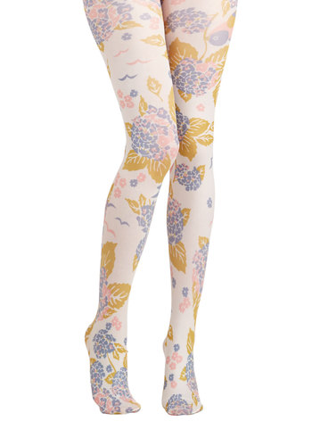 Photo Safari Tights in Meadow by Blutsgeschwister - Floral, Best, International Designer, Knit, Multi, Fruits, Quirky