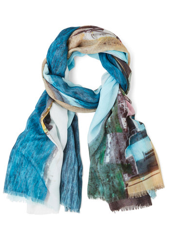 We'll Sea Scarf by Nice Things - Blue, Print, Best, International Designer, Woven, Sheer, Multi, Beach/Resort