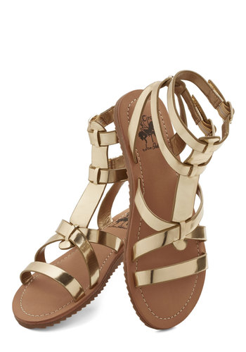 Glimmer is Served Sandal in Gold - Flat, Faux Leather, Gold, Solid, Beach/Resort, Luxe, Summer, Good, Daytime Party, Variation, Statement