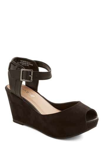 Haute, Skip, and a Jump Wedge - Mid, Faux Leather, Black, Solid, Buckles, Good, Platform, Wedge, Peep Toe, Party