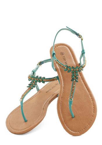 Resort to Runway Sandal - Flat, Rhinestones, Beach/Resort, Luxe, Summer, Good, Green, Daytime Party, T-Strap, Statement