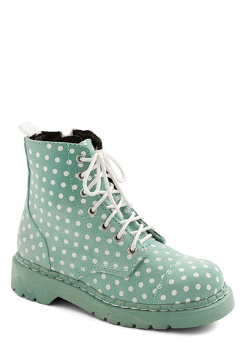 Funky Footprints Boot - Low, Faux Leather, Mint, Polka Dots, Pastel, Better, Lace Up, White, Casual, Statement, Spring