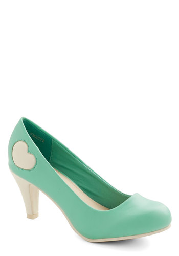 Follow My Heart Heel in Mint - Mid, Faux Leather, Mint, White, Solid, Party, Daytime Party, Valentine's, Darling, Better, Variation, Pastel