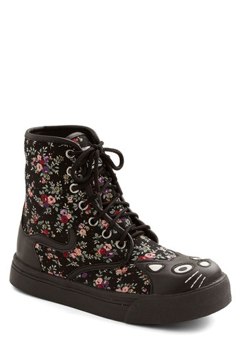 Hightail It Boot in Floral - Faux Leather, Woven, Low, Black, Multi, Floral, Print with Animals, Kawaii, Critters, Better, Lace Up, Casual, Cats, Statement