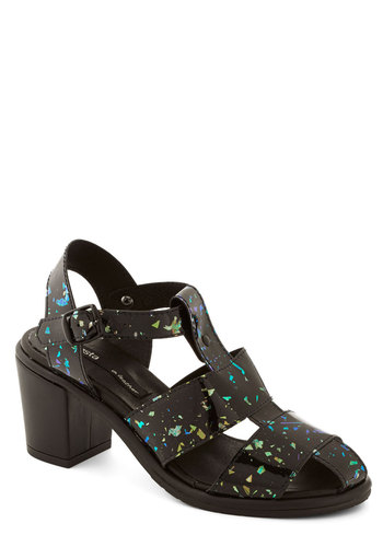 Flecks of Fun Heel - Mid, Faux Leather, Black, Multi, Print, Vintage Inspired, 80s, 90s, Best, Chunky heel, Strappy