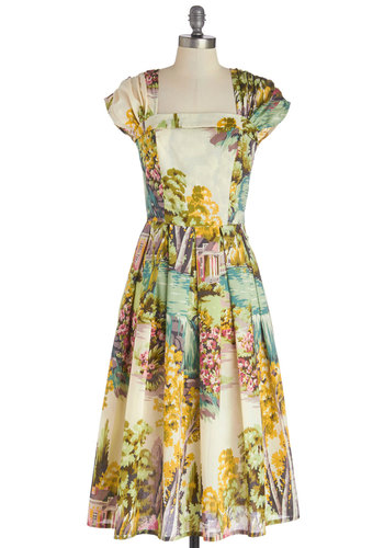 Sightsee and Be Seen Dress in Sunlight - Multi, Novelty Print, Pleats, Casual, A-line, Cap Sleeves, Better, Sheer, Woven, Cotton, Long