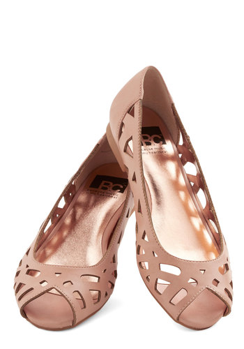 Discover Your Pastel Flat in Rose by BC Footwear - Flat, Faux Leather, Pink, Solid, Cutout, Daytime Party, Better, Peep Toe, Variation, Casual, Pastel