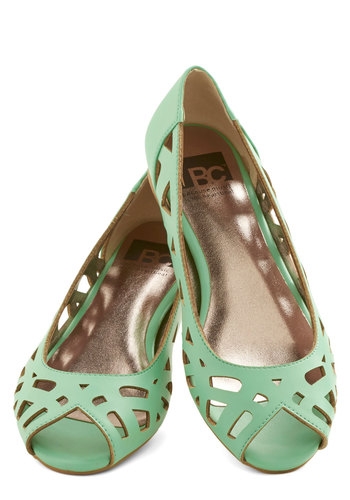 Discover Your Pastel Flat in Mint by BC Footwear - Flat, Faux Leather, Sheer, Mint, Solid, Cutout, Casual, Daytime Party, Pastel, Spring, Summer, Better, Peep Toe, Variation