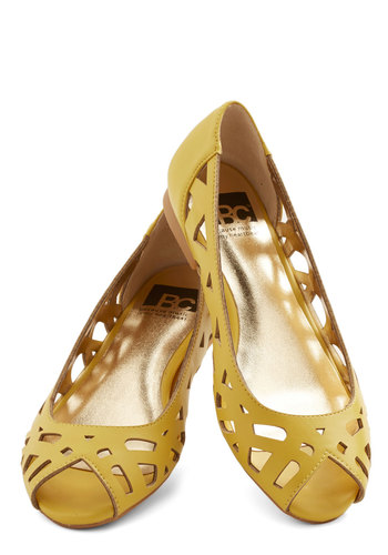 Discover Your Pastel Flat in Yellow by BC Footwear - Flat, Faux Leather, Yellow, Solid, Cutout, Daytime Party, Spring, Summer, Better, Peep Toe, Variation, Casual