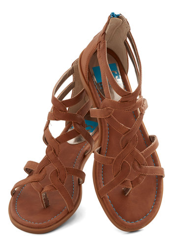 Campfire State of Mind Sandal in Whiskey by BC Footwear - Low, Faux Leather, Brown, Beach/Resort, Boho, Summer, Good, Strappy, Variation, Festival