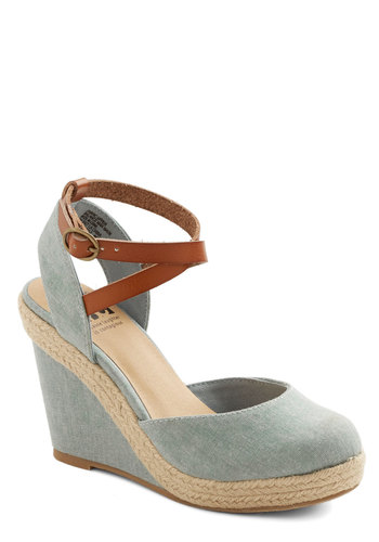 Spring Ahead Wedge by BC Footwear - High, Woven, Blue, Tan / Cream, Solid, Daytime Party, Spring, Summer, Better, Platform, Wedge, Espadrille
