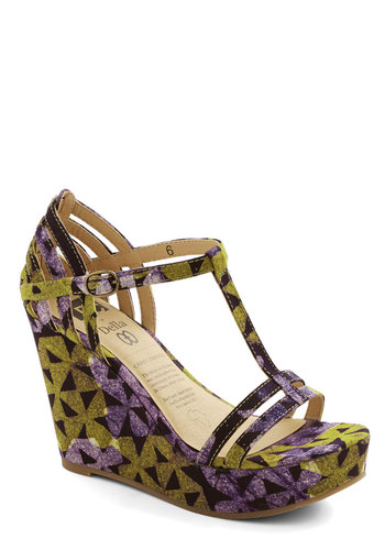 Here I Come Wedge by BC Footwear - High, Woven, Purple, Black, Print, Cutout, Party, Better, Platform, Wedge, T-Strap, Multi, Green, Girls Night Out