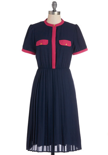 Baking Biz Dress - Blue, Solid, Buttons, Pleats, Pockets, Trim, Work, Casual, A-line, Shirt Dress, Short Sleeves, Better, Nautical, Long, Woven, Red