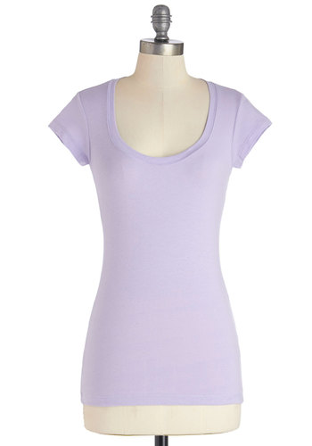 What's the Scoop Neck Tee in Lilac - Purple, Short Sleeve, Cotton, Knit, Mid-length, Purple, Solid, Casual, Pastel, Spring, Variation, Cap Sleeves, Basic, Scoop