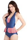 Star in Stripes One Piece by Fables by Barrie - Blue, Red, White, Stripes, Ruffles, Beach/Resort, Halter, Summer, Nautical, Rockabilly, Pinup, Vintage Inspired, 50s, Peplum