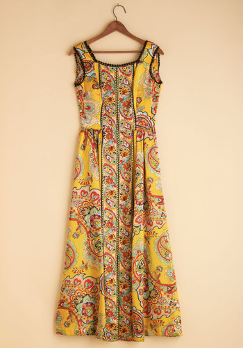 Vintage Big Yellow Maxi Dress