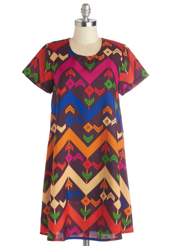 Upbeat Interaction Dress - Multi, Print, Casual, Folk Art, Festival, Tent / Trapeze, Short Sleeves, Better, Scoop, Woven, Mid-length, Boho, Shift