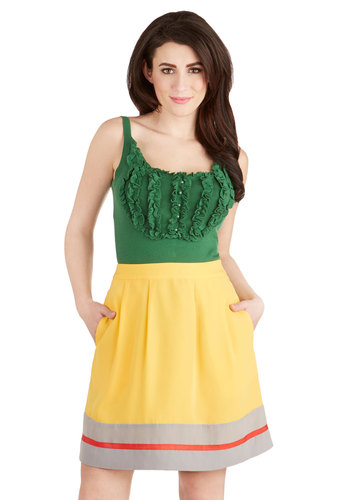 Sharp Student Skirt by Myrtlewood - Private Label, Short, Woven, Yellow, A-line, Exclusives, Pockets, Better, Yellow, Casual, Solid, Nautical, High Waist, Spring, Summer, Good
