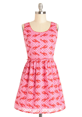 Claw and Order Dress - Pink, Red, Print with Animals, Ruffles, Casual, Quirky, A-line, Sleeveless, Better, Scoop, Cotton, Mid-length, Woven, Critters